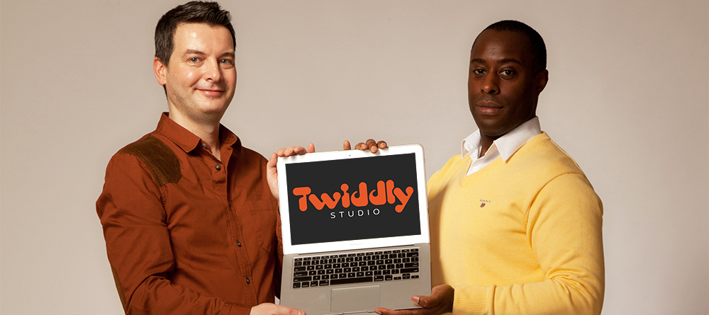 Andrew and Andy With Twiddly Logo laptop