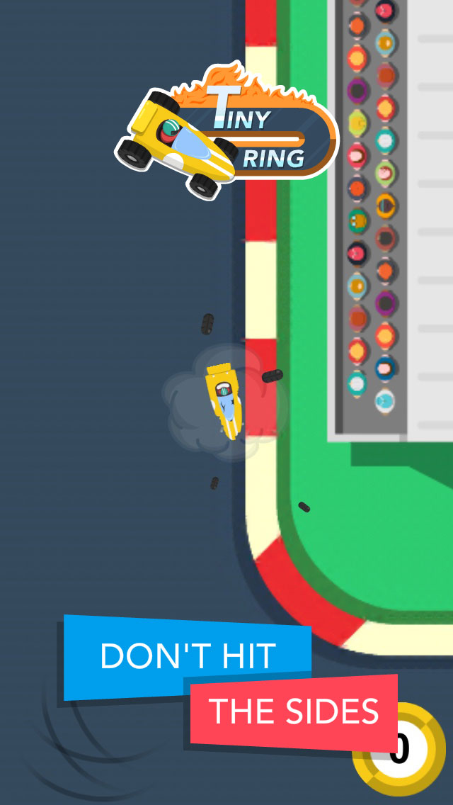 Tiny Ring  - Free-to-play iOS endless racing game - Don't hit the sides